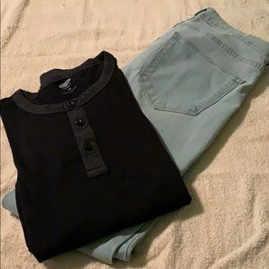 H&M jeans with black and grey long sleeve shirt .